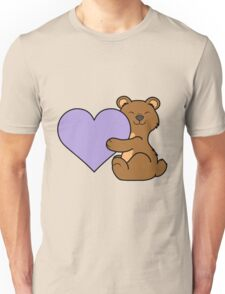 Valentine's Day Brown Bear with Light Purple Heart Unisex T-Shirt