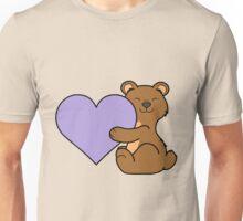 Valentine's Day Brown Bear with Light Purple Heart Unisex T-Shirt