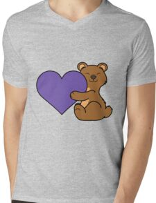 Valentine's Day Brown Bear with Purple Heart Mens V-Neck T-Shirt