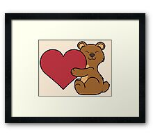 Valentine's Day Brown Bear with Red Heart Framed Print