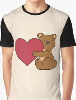 Valentine's Day Brown Bear with Red Heart Graphic T-Shirt