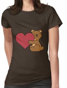 Valentine's Day Brown Bear with Red Heart Womens Fitted T-Shirt