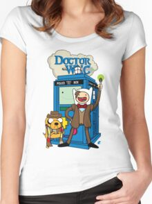 Finn and Jake Adventure Time Doctor Who Women's Fitted Scoop T-Shirt