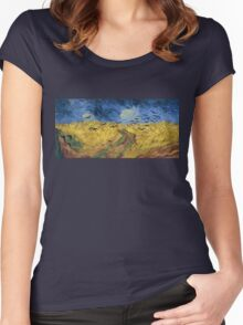 Vincent van Gogh - Wheatfield with Crows Women's Fitted Scoop T-Shirt