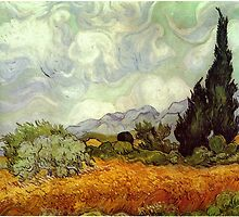 Vincent van Gogh - Wheat Field with Cypresses by mosfunky