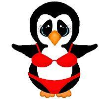 Penguin in Red Bikini Photographic Print