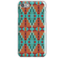 Bright Orange Red Aqua Turquoise Teal Mosaic Pattern iPhone Case/Skin