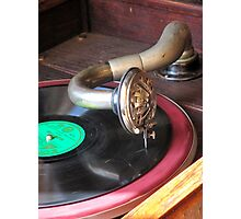 Close up of a Gramophone arm, needle and a 78 RPM record  Photographic Print