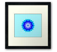 Floral Psychedelic Mandala Blue Framed Print