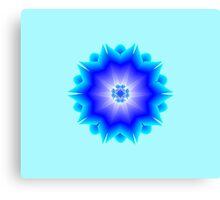 Floral Psychedelic Mandala Blue Canvas Print