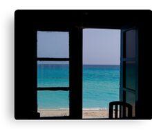 Island Paradise Beach House Landscape Canvas Print