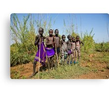 A group of young Mursi boys. Debub Omo Zone, Ethiopia,  Canvas Print
