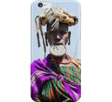 Woman of the Mursi tribe with clay lip disc iPhone Case/Skin