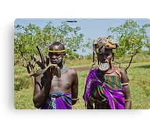 Mursi tribe couple  Canvas Print