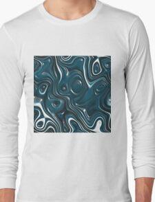 Modern Teal Blue White 3D Liquid Swirls Pattern T-Shirt