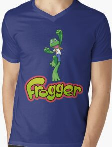 Frogger logo Mens V-Neck T-Shirt