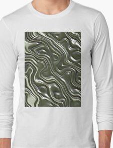 Modern Green Gray White 3D Liquid Swirls Pattern T-Shirt
