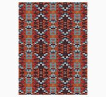 Turquoise Orange Red Brown Cabin Mosaic Pattern Kids Clothes
