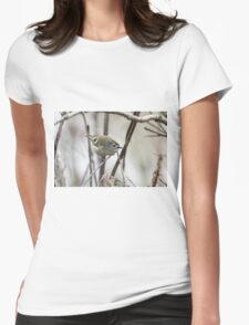 Goldcrest flashing its crown Womens Fitted T-Shirt