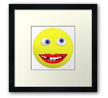 Smiley Ugly Cross Eyed Missing Teeth Framed Print