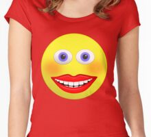Smiley Female With Big Smiling Mouth Women's Fitted Scoop T-Shirt