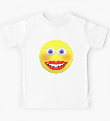 Smiley Female With Big Smiling Mouth Kids Tee