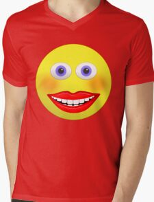 Smiley Female With Big Smiling Mouth Mens V-Neck T-Shirt