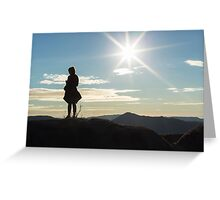 Silhouette woman on a mountain top Greeting Card