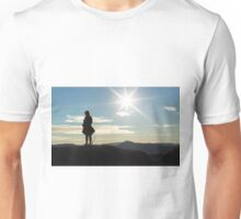 Silhouette woman on a mountain top Unisex T-Shirt