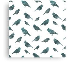 Blue watercolor birds on white, seamless pattern Canvas Print
