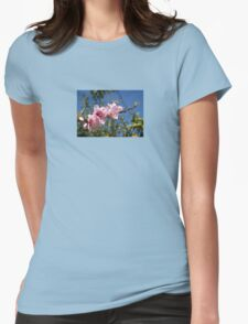 Peach Tree Blossom Against Blue Sky Womens Fitted T-Shirt