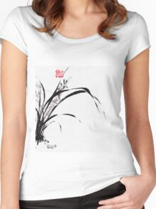 Japanese Orchid Design painted by Lee Henrik Women's Fitted Scoop T-Shirt