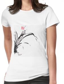 Japanese Orchid Design painted by Lee Henrik Womens Fitted T-Shirt