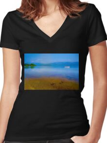 Tranquil Lake Painting of Loch Lomond Women's Fitted V-Neck T-Shirt
