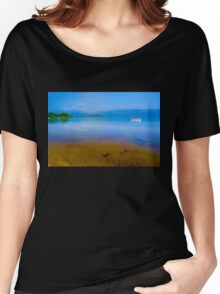 Tranquil Lake Painting of Loch Lomond Women's Relaxed Fit T-Shirt
