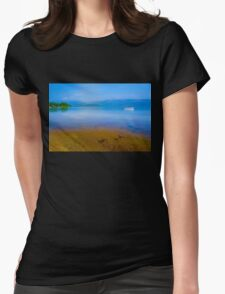 Tranquil Lake Painting of Loch Lomond Womens Fitted T-Shirt