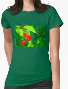 Red Cherries Painting Womens Fitted T-Shirt