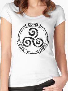 Alpha Beta Omega (Black) - Teen Wolf Women's Fitted Scoop T-Shirt