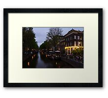 Springtime Amsterdam - Canalside Restaurant With a Terrace in Jordaan Framed Print