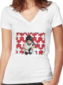 Fun Jesus - Red Women's Fitted V-Neck T-Shirt