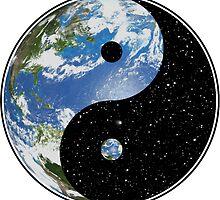 Earth / Space Yin Yang Symbol by darthpaul