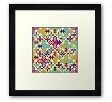 Crazy seamless pattern. Random colored geometric tiles. Framed Print