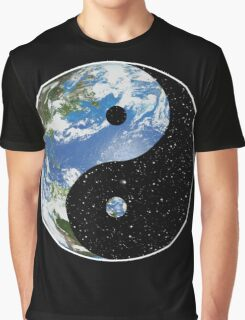 Earth / Space Yin Yang Symbol Graphic T-Shirt