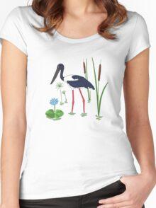 JABIRU - Black-Necked Stork Women's Fitted Scoop T-Shirt