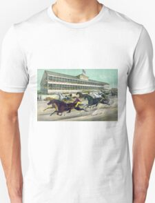 A race to the wire - Currier & Ives - 1891 T-Shirt
