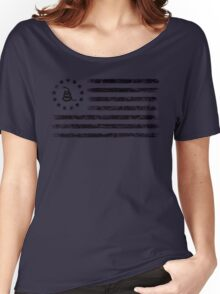 Dont Tread On Me - Original Rebel Flag (Black) Women's Relaxed Fit T-Shirt
