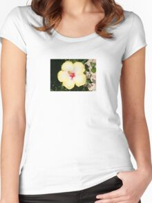 Pale Yellow Hibiscus Flower - Front View Women's Fitted Scoop T-Shirt