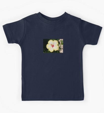 Pale Yellow Hibiscus Flower - Front View Kids Tee