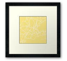 Map of yellow New York Framed Print