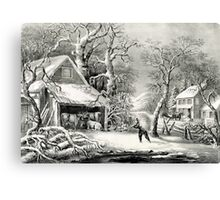 A snowy morning - Currier & Ives - 1864 Canvas Print